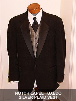 Notch Lapel Tuxedo Silver Plaid Vest